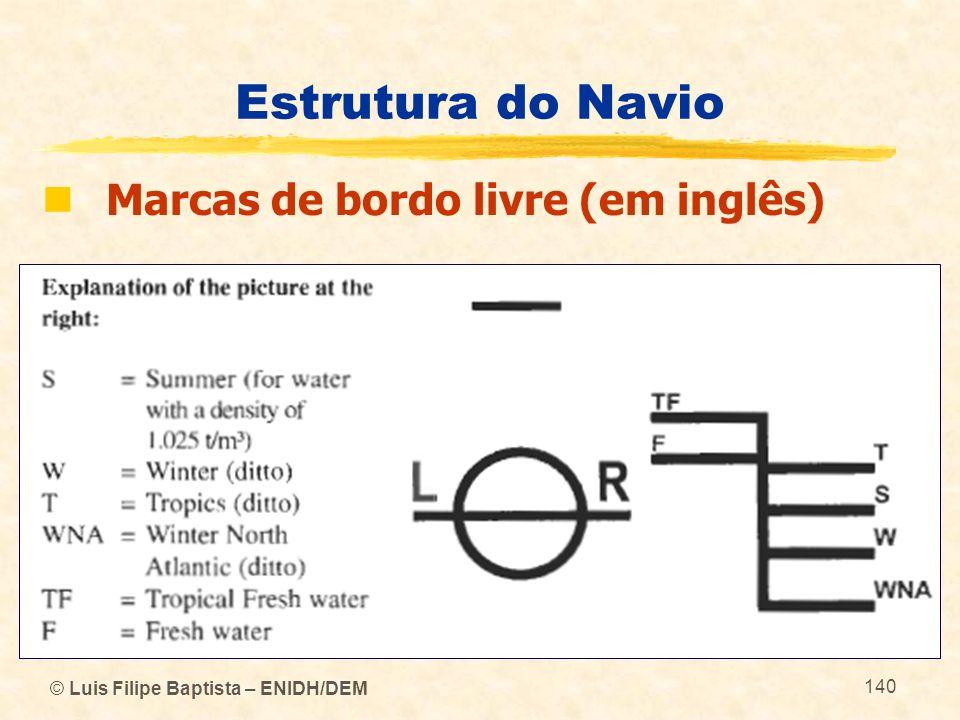 © Luis Filipe Baptista – ENIDH/DEM 140 Estrutura do Navio Marcas de bordo livre (em inglês)