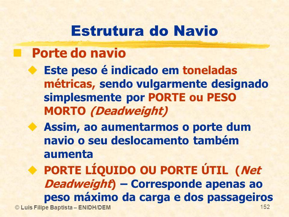 © Luis Filipe Baptista – ENIDH/DEM 152 Estrutura do Navio Porte do navio Este peso é indicado em toneladas métricas, sendo vulgarmente designado simpl