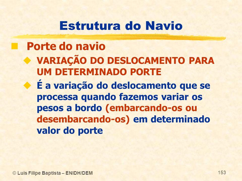 © Luis Filipe Baptista – ENIDH/DEM 153 Estrutura do Navio Porte do navio VARIAÇÃO DO DESLOCAMENTO PARA UM DETERMINADO PORTE É a variação do deslocamen