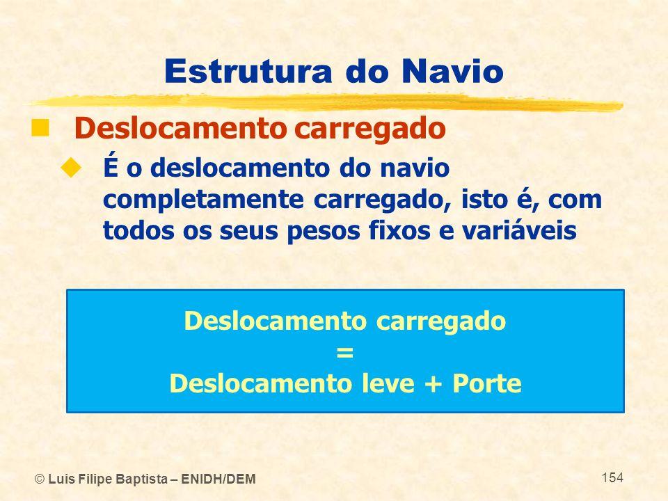 © Luis Filipe Baptista – ENIDH/DEM 154 Estrutura do Navio Deslocamento carregado É o deslocamento do navio completamente carregado, isto é, com todos