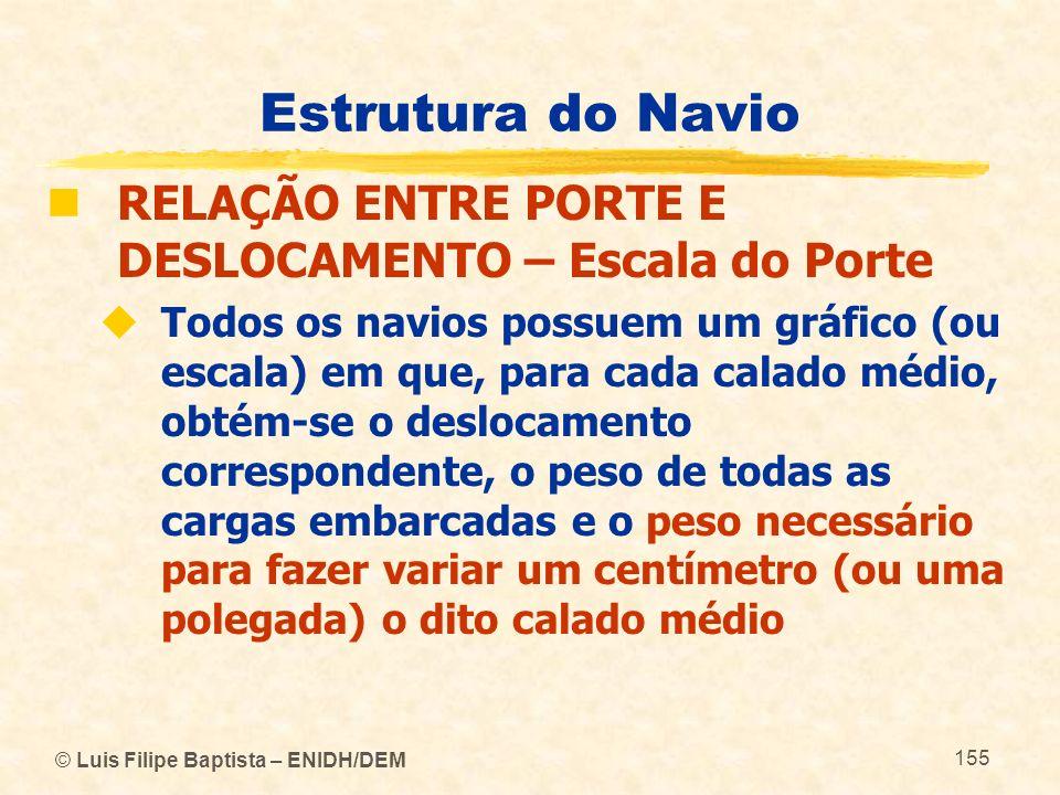 © Luis Filipe Baptista – ENIDH/DEM 155 Estrutura do Navio RELAÇÃO ENTRE PORTE E DESLOCAMENTO – Escala do Porte Todos os navios possuem um gráfico (ou