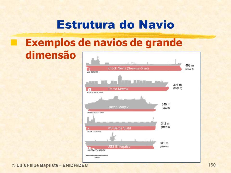 © Luis Filipe Baptista – ENIDH/DEM 160 Estrutura do Navio Exemplos de navios de grande dimensão