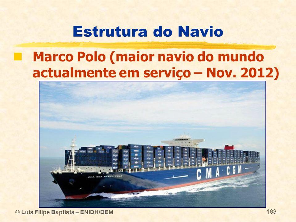 © Luis Filipe Baptista – ENIDH/DEM 163 Estrutura do Navio Marco Polo (maior navio do mundo actualmente em serviço – Nov. 2012)