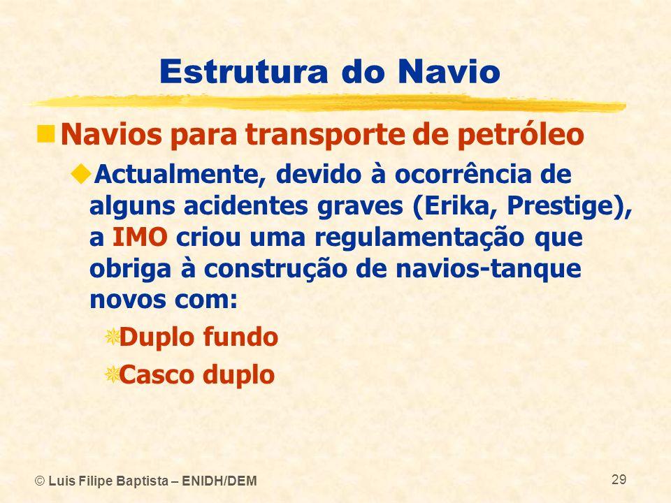 Estrutura do Navio Navios para transporte de petróleo Actualmente, devido à ocorrência de alguns acidentes graves (Erika, Prestige), a IMO criou uma r