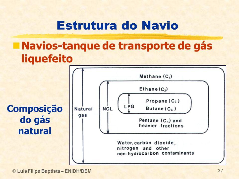 Estrutura do Navio Navios-tanque de transporte de gás liquefeito Composição do gás natural © Luis Filipe Baptista – ENIDH/DEM 37