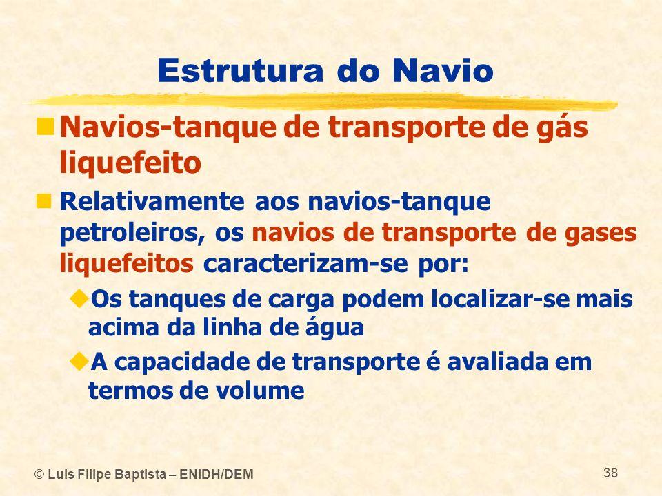 Estrutura do Navio Navios-tanque de transporte de gás liquefeito Relativamente aos navios-tanque petroleiros, os navios de transporte de gases liquefe