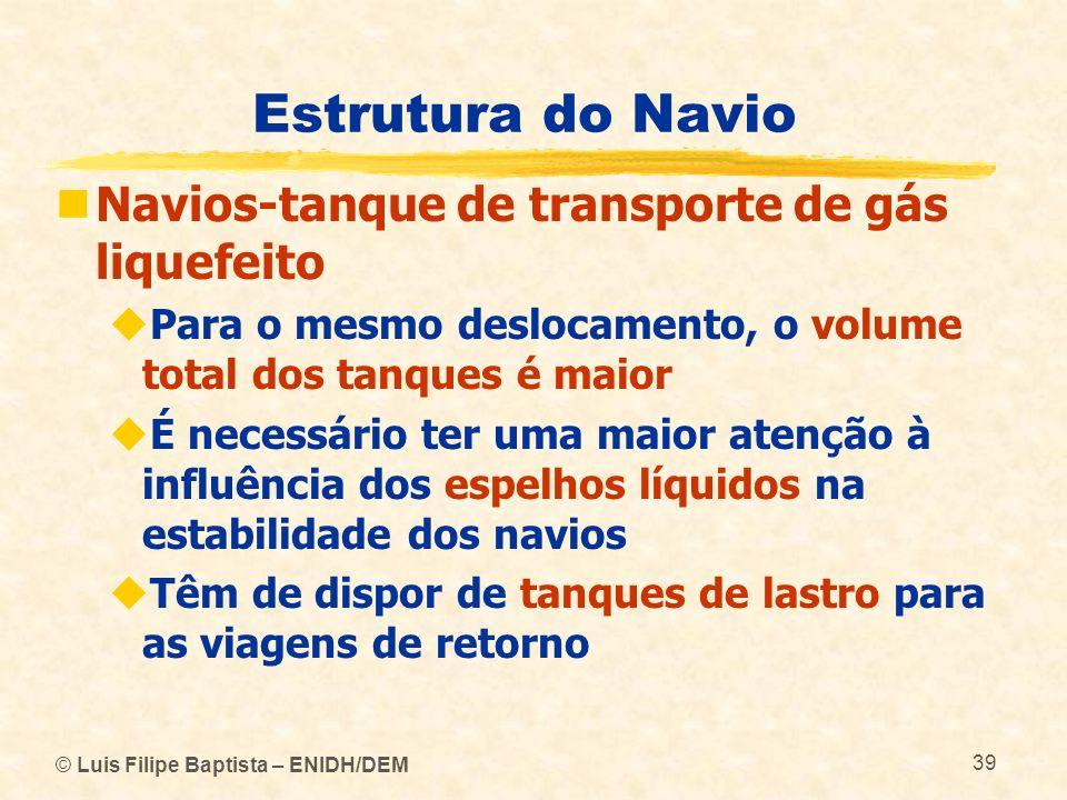 Estrutura do Navio Navios-tanque de transporte de gás liquefeito Para o mesmo deslocamento, o volume total dos tanques é maior É necessário ter uma ma