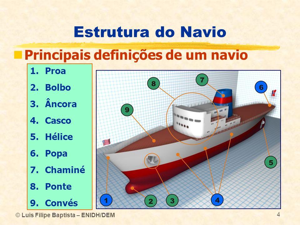 © Luis Filipe Baptista – ENIDH/DEM 4 Estrutura do Navio Principais definições de um navio 1.Proa 2.Bolbo 3.Âncora 4.Casco 5.Hélice 6.Popa 7.Chaminé 8.