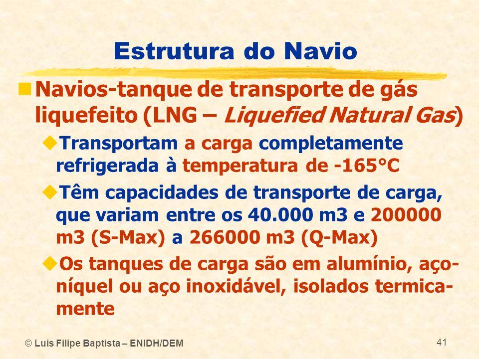Estrutura do Navio Navios-tanque de transporte de gás liquefeito (LNG – Liquefied Natural Gas) Transportam a carga completamente refrigerada à tempera