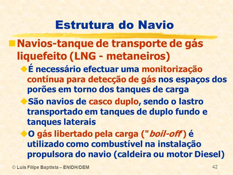 Estrutura do Navio Navios-tanque de transporte de gás liquefeito (LNG - metaneiros) É necessário efectuar uma monitorização contínua para detecção de