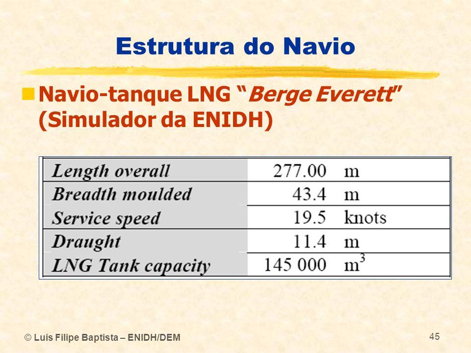 © Luis Filipe Baptista – ENIDH/DEM 45 Estrutura do Navio Navio-tanque LNG Berge Everett (Simulador da ENIDH)