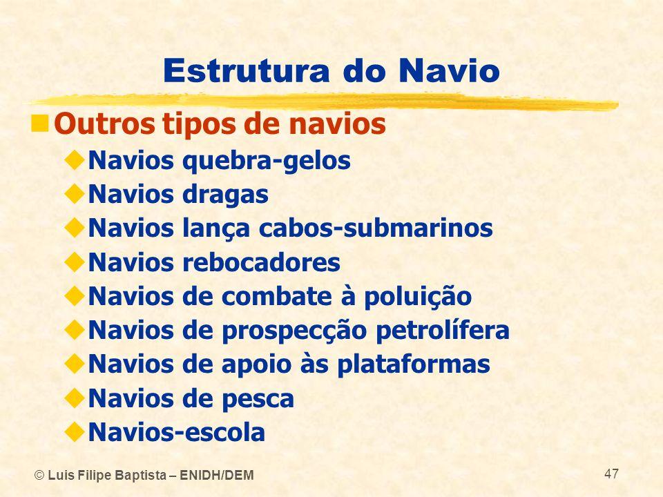 © Luis Filipe Baptista – ENIDH/DEM 47 Estrutura do Navio Outros tipos de navios Navios quebra-gelos Navios dragas Navios lança cabos-submarinos Navios