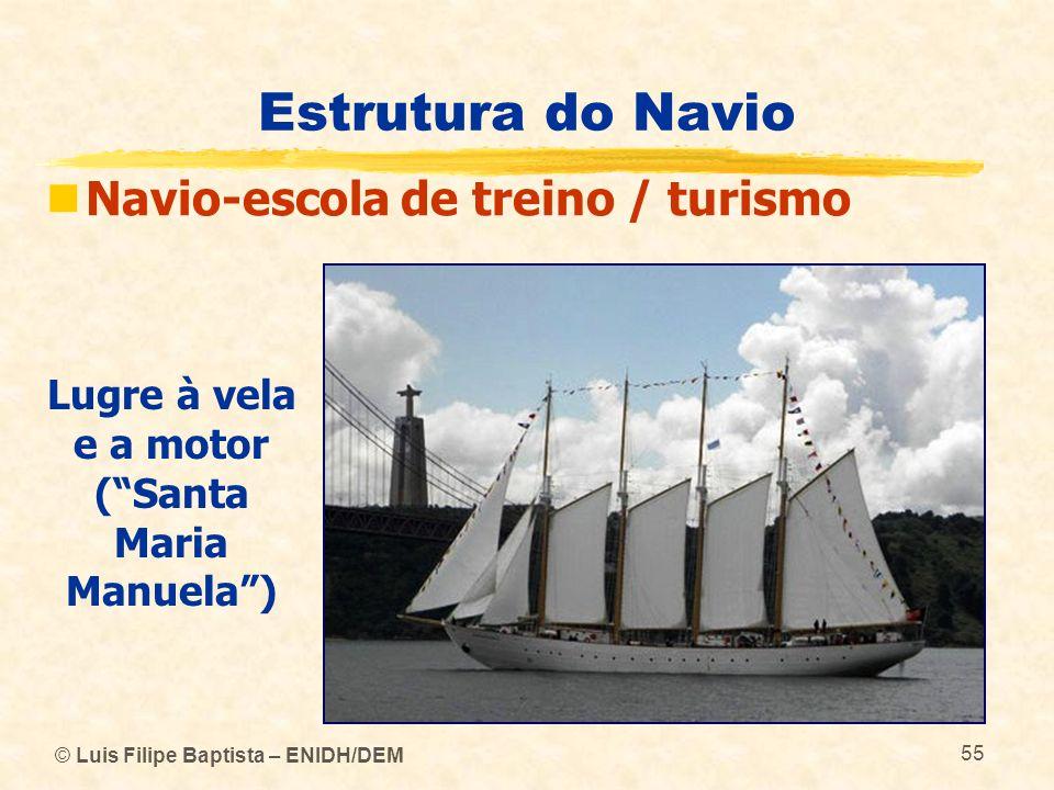 © Luis Filipe Baptista – ENIDH/DEM 55 Estrutura do Navio Navio-escola de treino / turismo Lugre à vela e a motor (Santa Maria Manuela)
