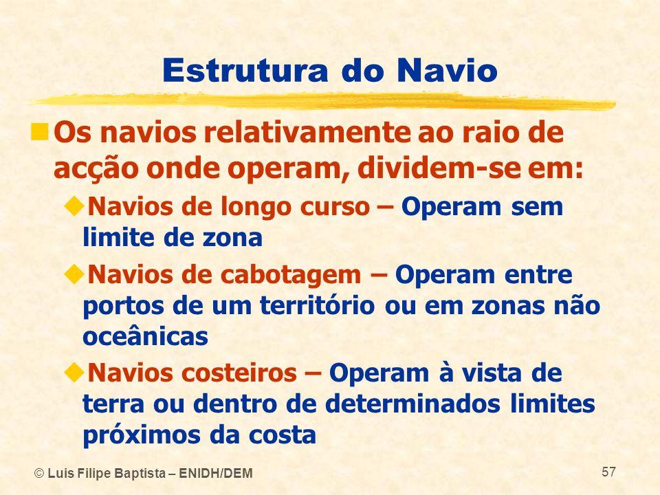 © Luis Filipe Baptista – ENIDH/DEM 57 Estrutura do Navio Os navios relativamente ao raio de acção onde operam, dividem-se em: Navios de longo curso –