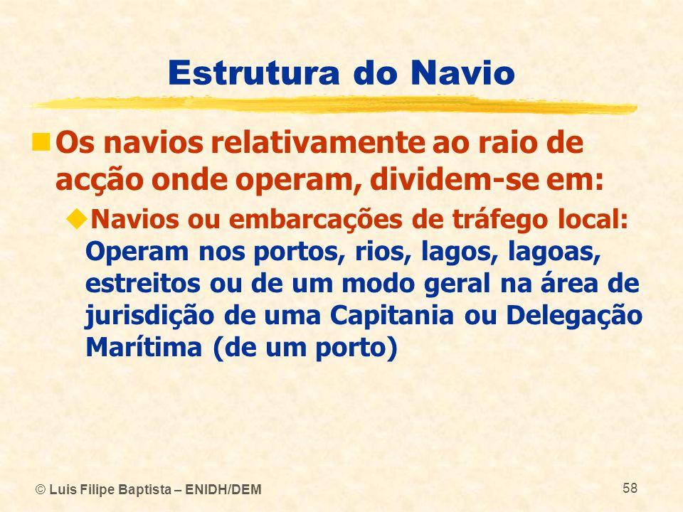 © Luis Filipe Baptista – ENIDH/DEM 58 Estrutura do Navio Os navios relativamente ao raio de acção onde operam, dividem-se em: Navios ou embarcações de