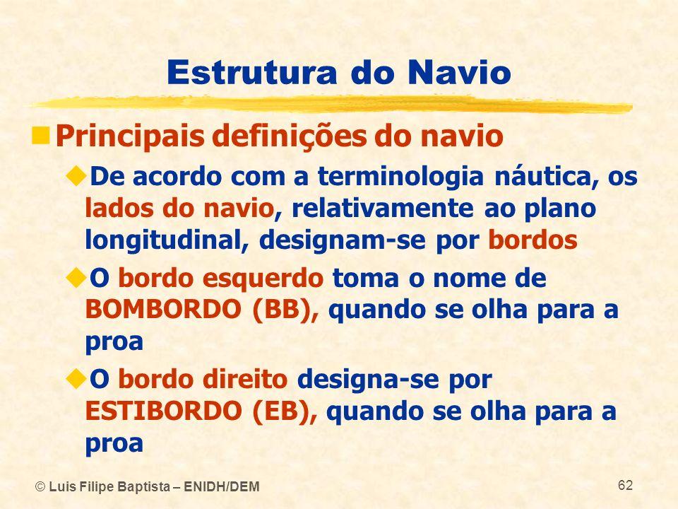 © Luis Filipe Baptista – ENIDH/DEM 62 Estrutura do Navio Principais definições do navio De acordo com a terminologia náutica, os lados do navio, relat