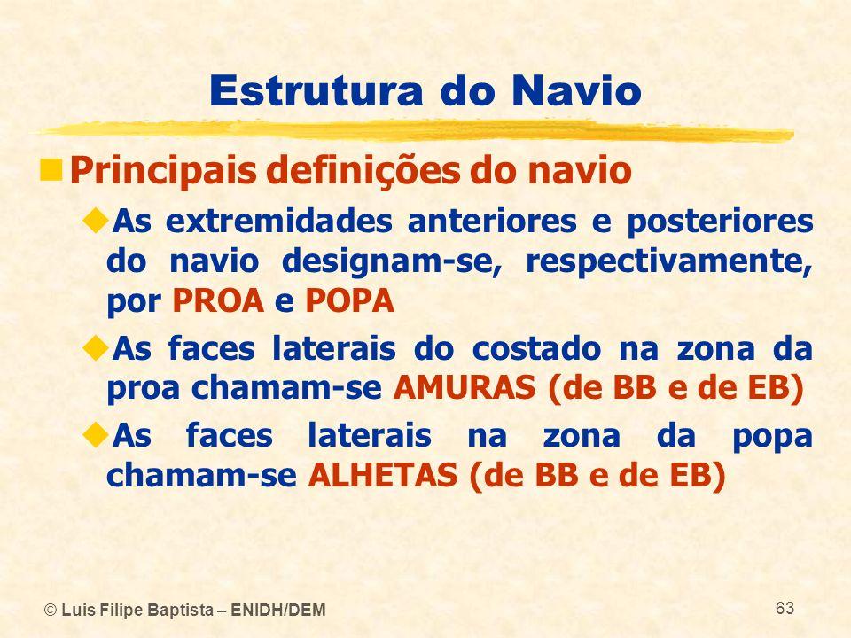 © Luis Filipe Baptista – ENIDH/DEM 63 Estrutura do Navio Principais definições do navio As extremidades anteriores e posteriores do navio designam-se,