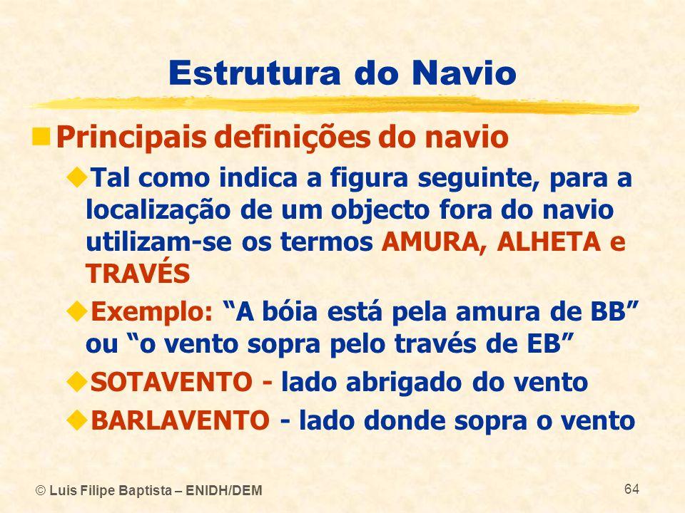 © Luis Filipe Baptista – ENIDH/DEM 64 Estrutura do Navio Principais definições do navio Tal como indica a figura seguinte, para a localização de um ob