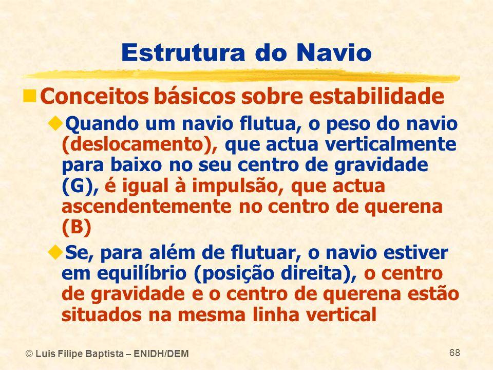 © Luis Filipe Baptista – ENIDH/DEM 68 Estrutura do Navio Conceitos básicos sobre estabilidade Quando um navio flutua, o peso do navio (deslocamento),