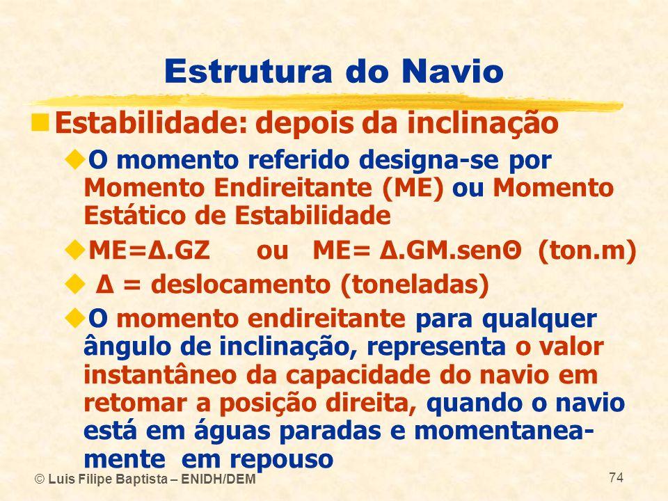 © Luis Filipe Baptista – ENIDH/DEM 74 Estrutura do Navio Estabilidade: depois da inclinação O momento referido designa-se por Momento Endireitante (ME