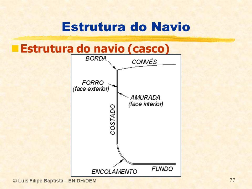 © Luis Filipe Baptista – ENIDH/DEM 77 Estrutura do Navio Estrutura do navio (casco)