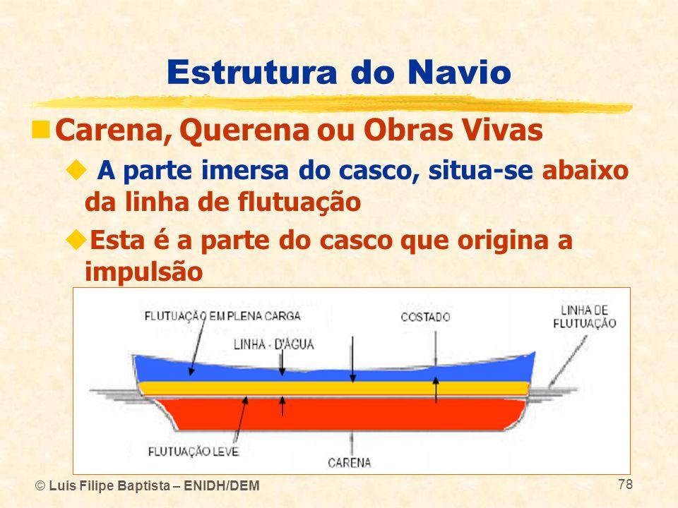 © Luis Filipe Baptista – ENIDH/DEM 78 Estrutura do Navio Carena, Querena ou Obras Vivas A parte imersa do casco, situa-se abaixo da linha de flutuação