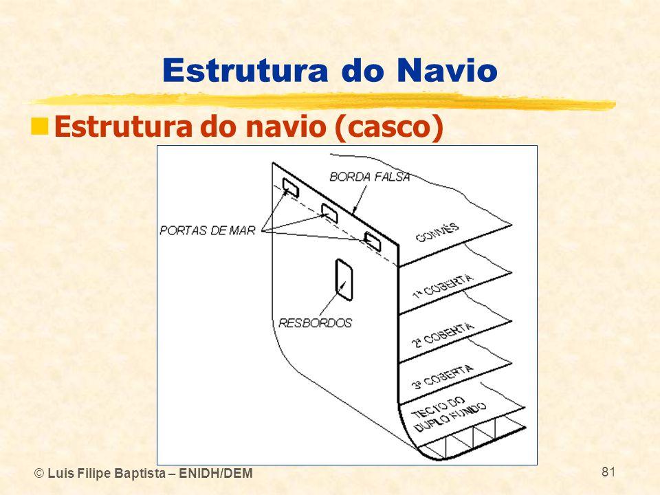 © Luis Filipe Baptista – ENIDH/DEM 81 Estrutura do Navio Estrutura do navio (casco)