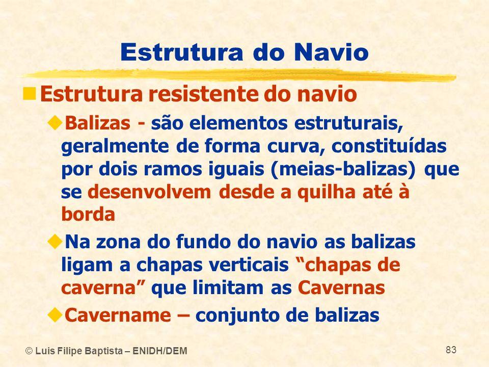 © Luis Filipe Baptista – ENIDH/DEM 83 Estrutura do Navio Estrutura resistente do navio Balizas - são elementos estruturais, geralmente de forma curva,