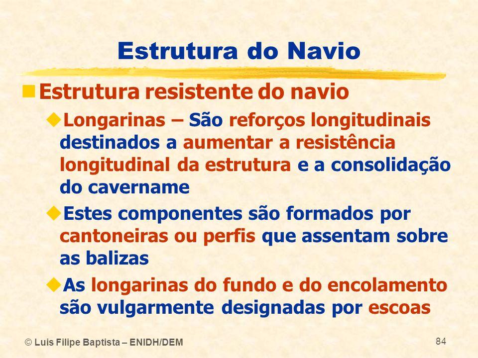 © Luis Filipe Baptista – ENIDH/DEM 84 Estrutura do Navio Estrutura resistente do navio Longarinas – São reforços longitudinais destinados a aumentar a