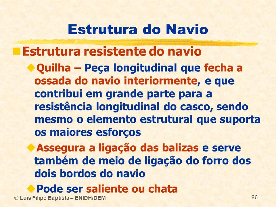 © Luis Filipe Baptista – ENIDH/DEM 86 Estrutura do Navio Estrutura resistente do navio Quilha – Peça longitudinal que fecha a ossada do navio interior