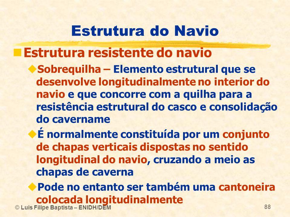 © Luis Filipe Baptista – ENIDH/DEM 88 Estrutura do Navio Estrutura resistente do navio Sobrequilha – Elemento estrutural que se desenvolve longitudina