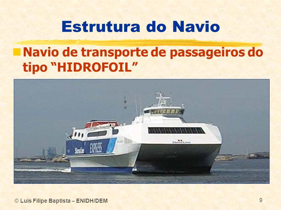 © Luis Filipe Baptista – ENIDH/DEM 9 Estrutura do Navio Navio de transporte de passageiros do tipo HIDROFOIL