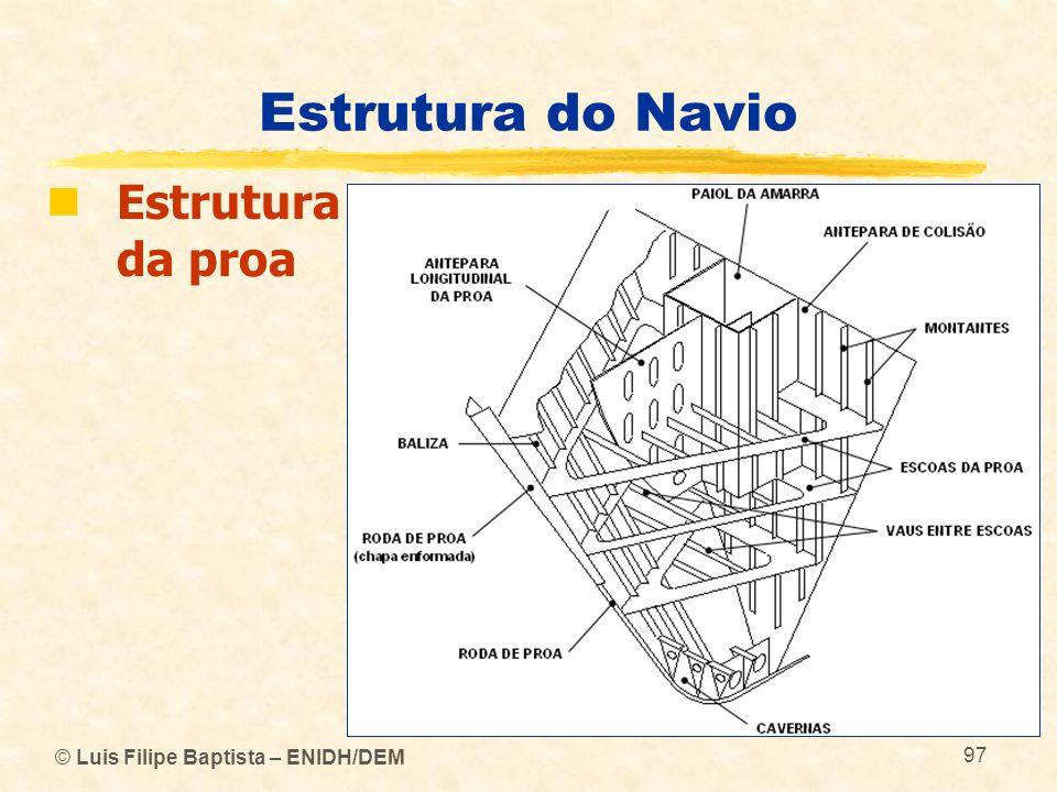 © Luis Filipe Baptista – ENIDH/DEM 97 Estrutura do Navio Estrutura da proa