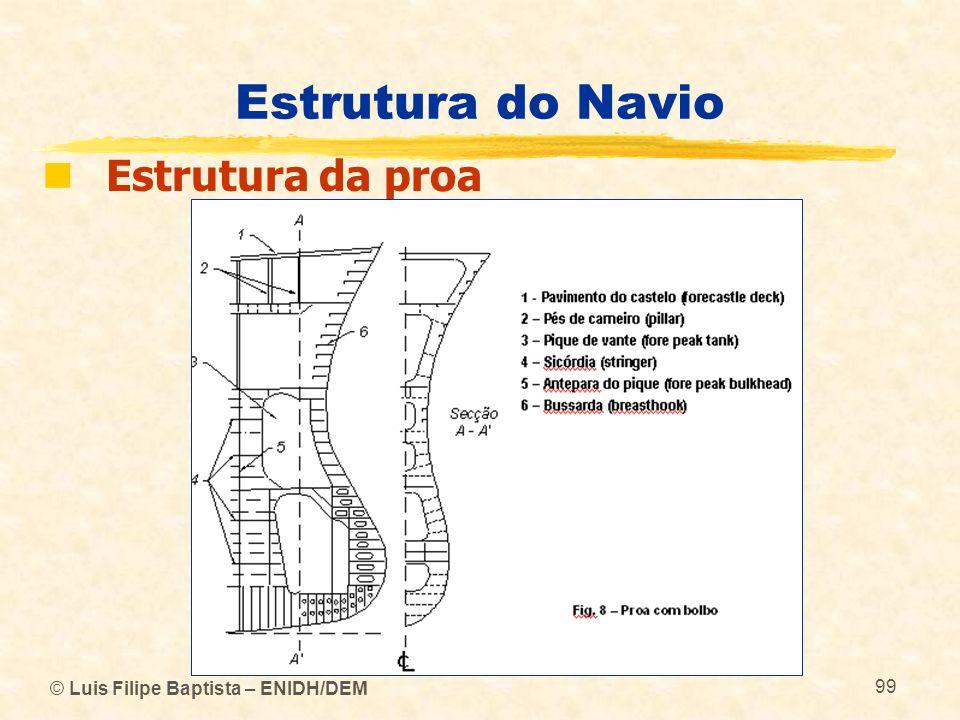 © Luis Filipe Baptista – ENIDH/DEM 99 Estrutura do Navio Estrutura da proa