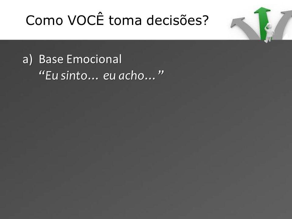 a) Base Emocional Eu sinto… eu acho…