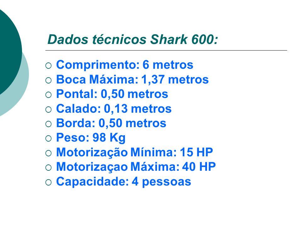 Dados técnicos Shark 600: Comprimento: 6 metros Boca Máxima: 1,37 metros Pontal: 0,50 metros Calado: 0,13 metros Borda: 0,50 metros Peso: 98 Kg Motori