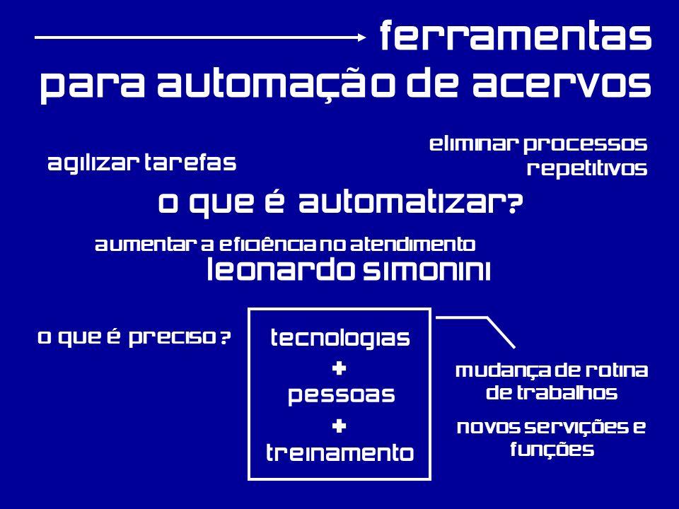 ferramentas para automação de acervos O que é automatizar? agilizar tarefas tecnologias pessoas treinamento O que é preciso ? + + eliminar processos r