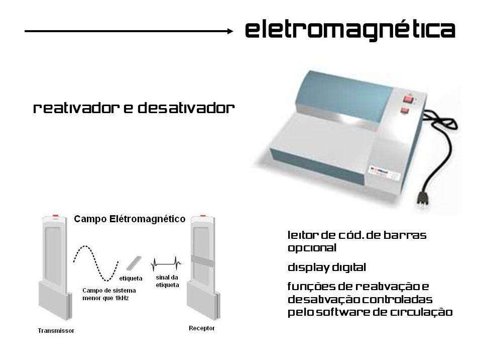 reativador e desativador eletromagnética leitor de cód. de barras opcional display digital funções de reativação e desativação controladas pelo softwa