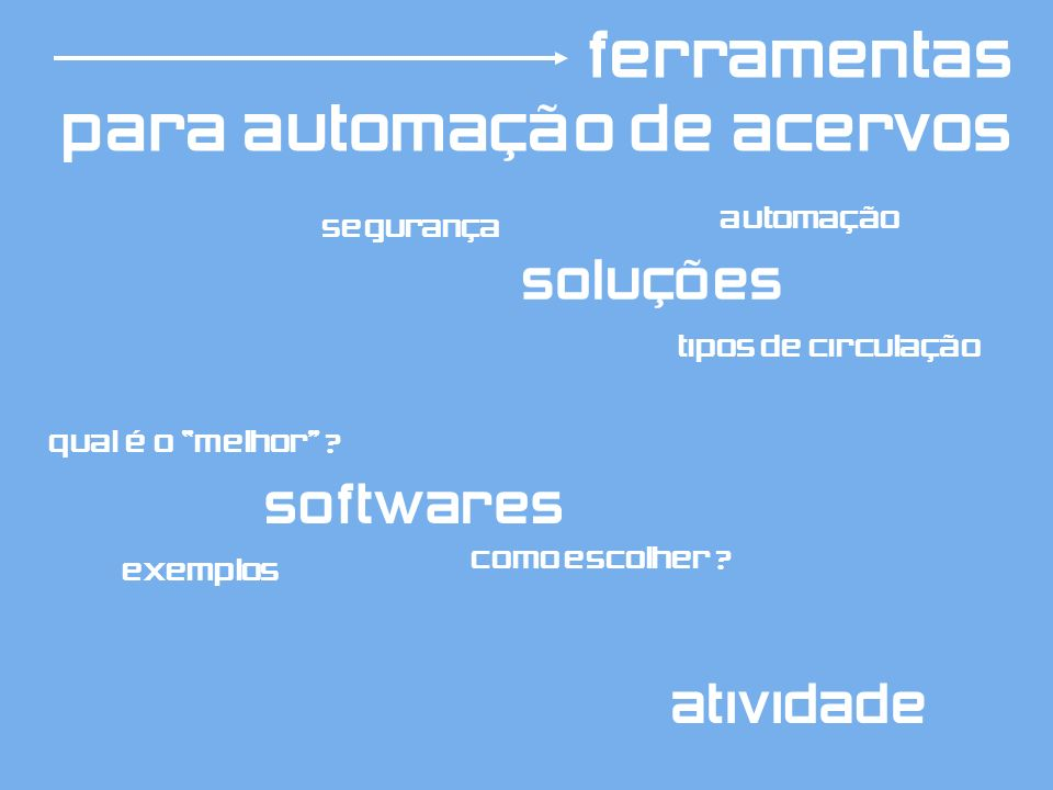 soluções softwares exemplos segurança qual é o melhor ? como escolher ? tipos de circulação automação atividade ferramentas para automação de acervos