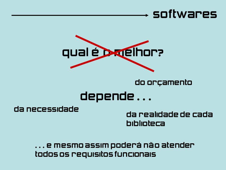 softwares qual é o melhor? depende... da necessidade do orçamento da realidade de cada biblioteca... e mesmo assim poderá não atender todos os requisi