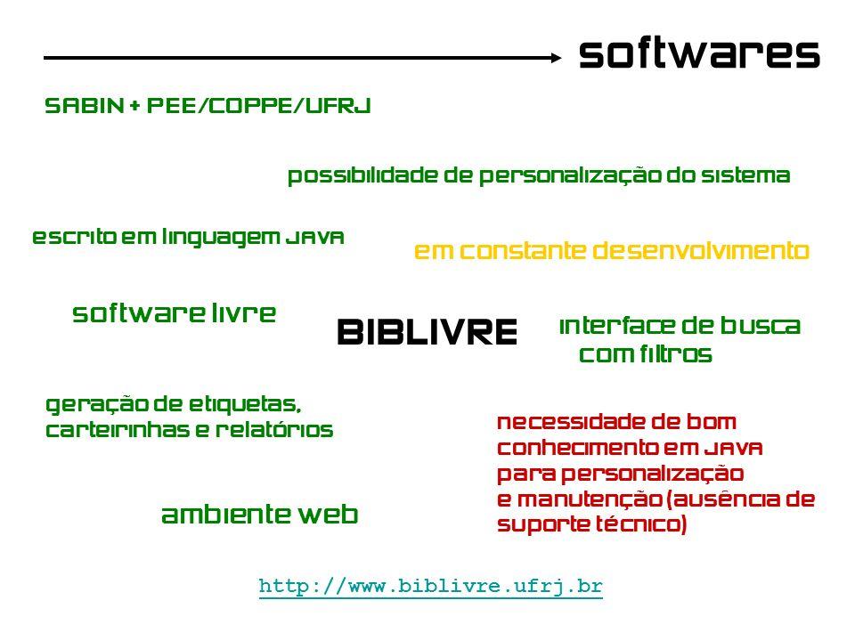 softwares BIBLIVRE http://www.biblivre.ufrj.br SABIN + PEE/COPPE/UFRJ software livre possibilidade de personalização do sistema escrito em linguagem J