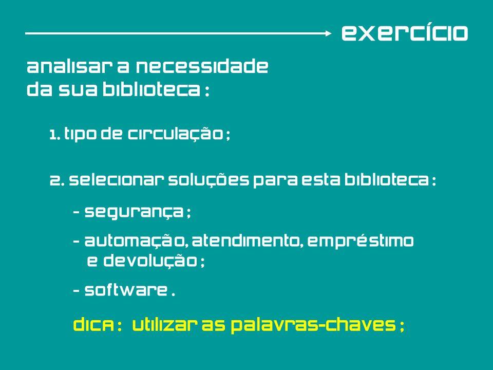 exercício analisar a necessidade da sua biblioteca : 1. tipo de circulação ; 2. selecionar soluções para esta biblioteca : - Segurança ; - automação,