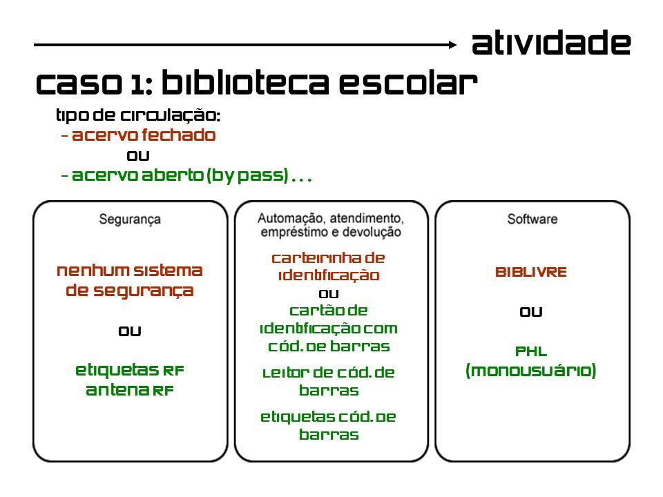 atividade caso 1: biblioteca escolar tipo de circulação: - acervo fechado ou - acervo aberto (by pass)... nenhum sistema de segurança ou etiquetas RF