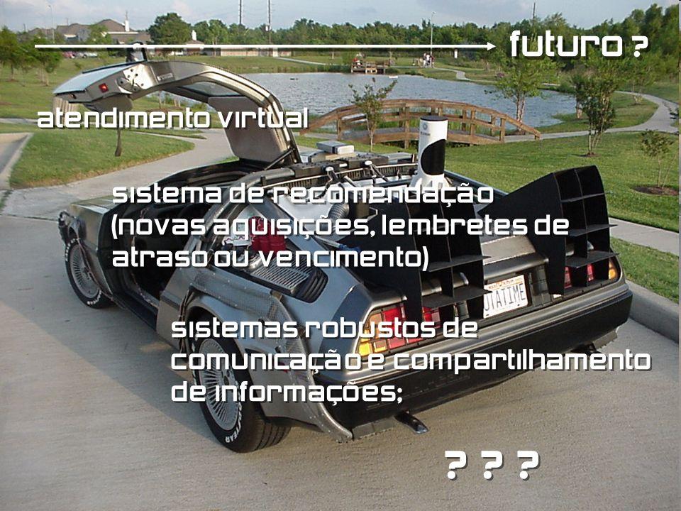 futuro ? atendimento virtual sistema de recomendação (novas aquisições, lembretes de atraso ou vencimento) sistema de recomendação (novas aquisições,