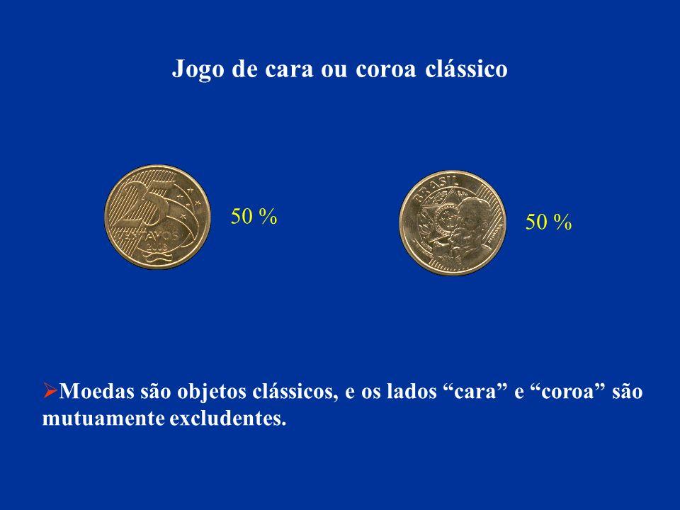 Jogo de cara ou coroa clássico 50 % Moedas são objetos clássicos, e os lados cara e coroa são mutuamente excludentes.