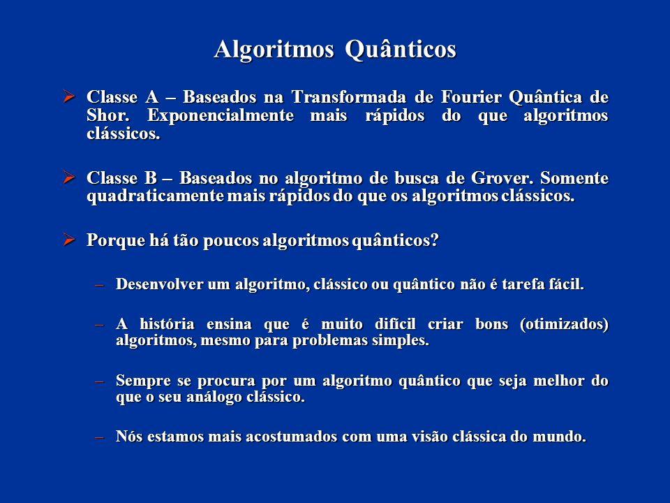 Algoritmos Quânticos Classe A – Baseados na Transformada de Fourier Quântica de Shor. Exponencialmente mais rápidos do que algoritmos clássicos. Class