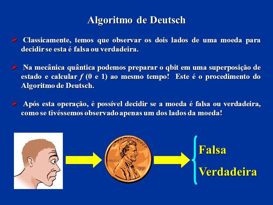 Algoritmo de Deutsch Classicamente, temos que observar os dois lados de uma moeda para decidir se esta é falsa ou verdadeira. Classicamente, temos que