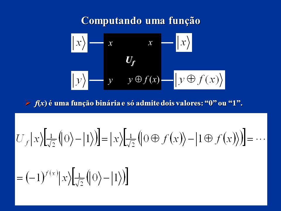 Computando uma função UfUfUfUf x x y y f (x) f(x) é uma função binária e só admite dois valores: 0 ou 1. f(x) é uma função binária e só admite dois va
