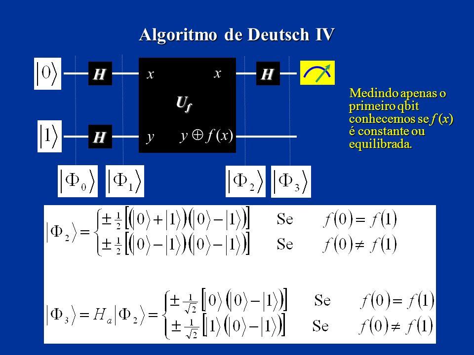 Algoritmo de Deutsch IV H H UfUfUfUf H x x y y f (x) Medindo apenas o primeiro qbit conhecemos se f (x) é constante ou equilibrada. Medindo apenas o p