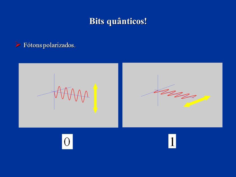 Bits quânticos! Fótons polarizados. Fótons polarizados.